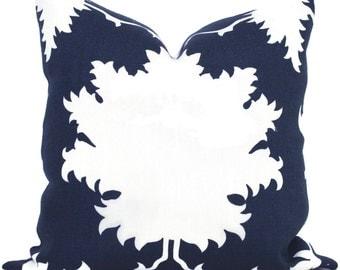 Garden of Persia Decorative Pillow Cover Square, Eurosham or Lumbar Pillow, Schumacher Made to order pillow cover, Bleu Marine