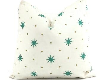 Sister Parish Green and Gold Serendipity Star Decorative Pillow Cover  18x18, 20x20, 22x22, Eurosham or lumbar, Christmas pillow decor