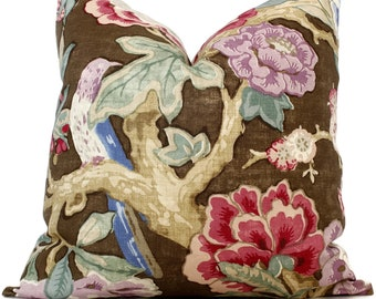 Decorative Pillow Cover in Bermuda Blossoms by Mary McDonald for Schumacher Cocoa 18x18, 20x20 or 22x22, Eurosham or lumbar pillow, cushion