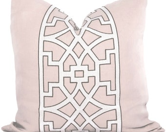 Mary McDonald Blush Pink Trellis Decorative Pillow Cover 18x18, 20x20, 22x22 or lumbar pillow - Throw Pillow - Accent Pillow - Don't Fret