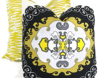 Yellow and Black Trina Turk Super Paradise Indoor Outdoor Decorative Pillow Cover, Schumacher Pillow, Outdoor pillow, Made to order pillow