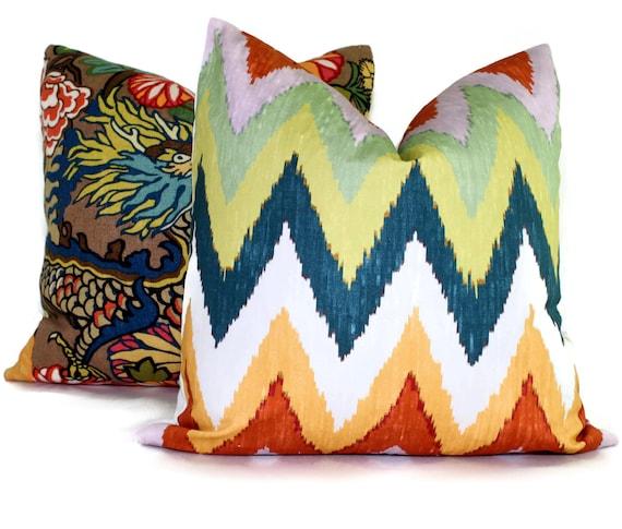 Adras ikat pillow cover in Caravan 20 x