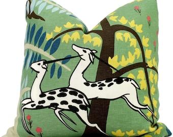 Jade Schumacher Antelopes Decorative Pillow Covers 18x18, 20x20 or 22x22, 24x24, 26x26 or lumbar pillow, Paul Poiret