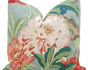 Schumacher Aqua Enchanted Garden Decorative Pillow Cover 18x18, 20x20 or 22x22, Eurosham 14x20 or 12x24 Throw pillow cover