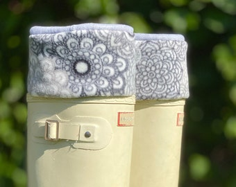 Boot Cuffs SLUGS Fleece Rain Boot Liners Socks Gray Charcoal White Lace Doily Cuff, Mothers Day Gift For Her, Cozy Tall Socks, Fleece Socks