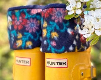 SLUGS Fleece Rain Boot Liners, Boot Socks, Mother's Day Gift, Gardener Gift, Navy Floral Cozy Cuff, Gift For Her, Mom