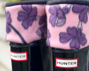 SLUGS Fleece Rain Boot Liners Black With A Blush Purple Floral Pattern, Boot Cuff, Tall Socks, Xtratuf inserts, Fleece Socks, Outdoor Gift