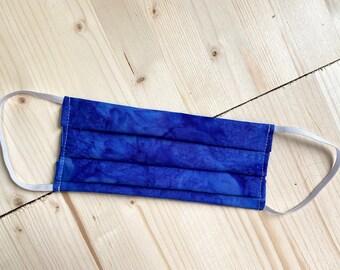 Fabric Face Mask Adult unisex & Kids, Elastic Ear Wrap, Reusable, Washable, 100% Cotton, Royal Blue Tie Dye Batik Cloth Mask