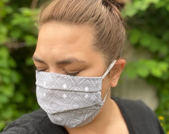 Fabric Face Mask Adult Unisex, Reusable, Washable, Cotton, Black/Gray Face Covering Mask, Elastic Ear Loop, Pleated Neutral Geometric PPE