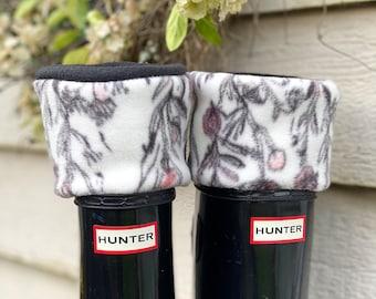 SLUGS Fleece Rain Boot Liners Black with Blush Flower Bud Cuff,  Spring Summer Gardening Style, Hunters Socks, Cozy Slippers, Boot Cuff