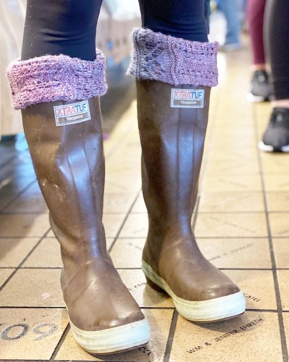 Cold Weather Fashion Tall Socks SLUGS Fleece Rain Boot Liners Tan With Animal Print Boot Cuffs MedLg 9-11 Boot Insert Socks
