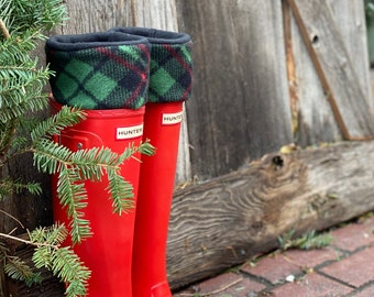 SLUGS Fleece Rain Boot Liners Christmas Plaid Black, Red & Green, Boot Sock, Boot Insert, Fleece Sock, Boot Cuff, Winter Fashion Accessory
