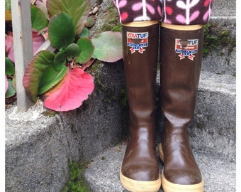 SLUGS Fleece Rain Boot Liners Brown With A Winter Branch Cuff, Fall Winter Fashion, Boot Cuff, Tall Socks, Insearts (Sm/Med 6-8 Boot)