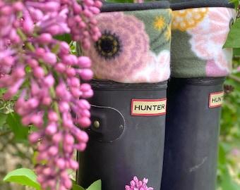 SLUGS Fleece Rain Boot Liners Black Olive Blush Pink Floral Cuff, Fall Winter Fashion, Leg Warmers, Boot Cuffs, Cozy Socks, Winter Accessory