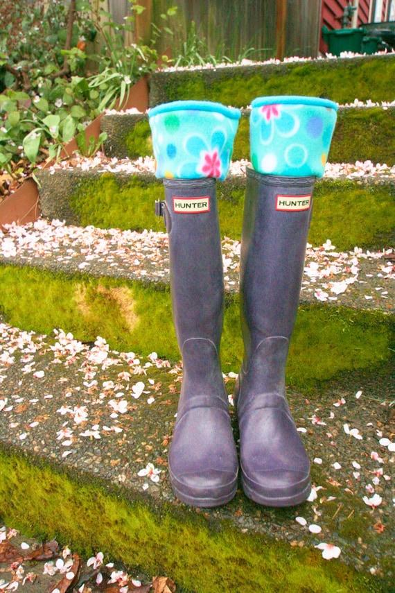Doublures de botte pluie LIMACES polaire Turquoise fleur, accessoire de mode de l'hiver automne, jambières, manchettes de démarrage, Boot Toppers