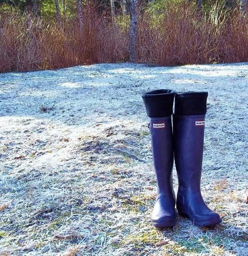 a8e2ae8c3263d SLUGS Fleece Snow Rain Boot Liners Solid Black Tall Socks   Etsy