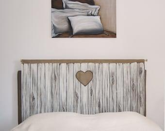 Tête de lit; Porte en bois en trompe l'oeil; Trompe l'oeil; reproduction numérique sur tissu; décoration pour chambre, tendance  hygge