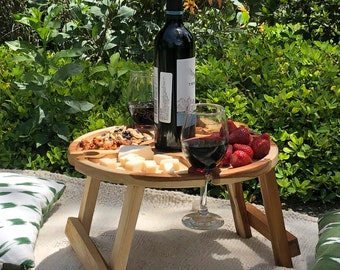 Portable Picnic Table / Wooden Folding Outdoor Wine Table with Wine Glass and Bottle Holders/ Father's Day Gift