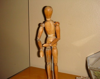 Old Artist Articulated Mannequin Male Form Wood With Stand