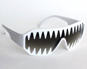 9d35c42ed2 Rasslor Mini Shark Teeth on White Shield Sunglasses