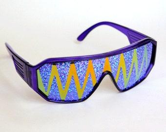 1d8828688d Rasslor Orange Purple Shark Teeth Shield Sunglasses