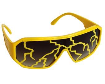 Rasslor Yellow Lightning Bolt Mirror Shield Sunglasses