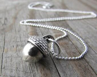 Acorn Necklace, small silver acorn pendant