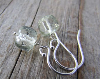 Prasiolite Earrings, green amethyst earrings, small, 3D faceted gemstone cube dangle earrings