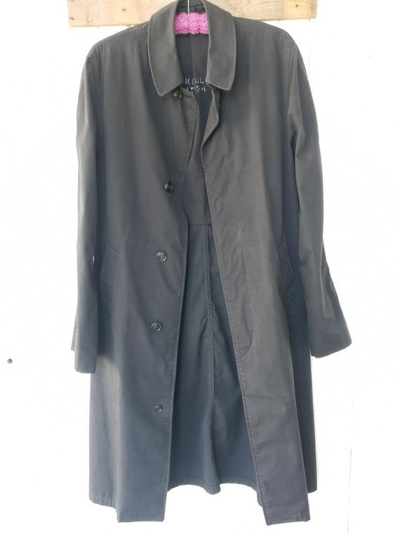 Vintage Military Raincoat Trenchcoat Black