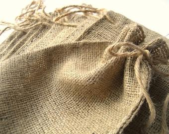 Mini Burlap Bag - Rustic Burlap Sack - Favor Bag - Natural Burlap Favor Bag with Drawstring Closure - SET of 12 gift bags