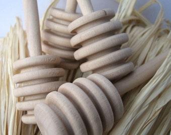 HONEY dippers SET of 25 - honey stirrer - 25 Natural Wood Honey Dippers -  Honey Pot Dipper Stick (4 inch)