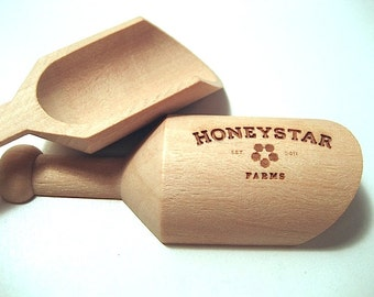 Custom Wood Scoops for Wedding or Business Set of 10 Mini Wooden Scoops Bath Salt Scoops Spice Scoops
