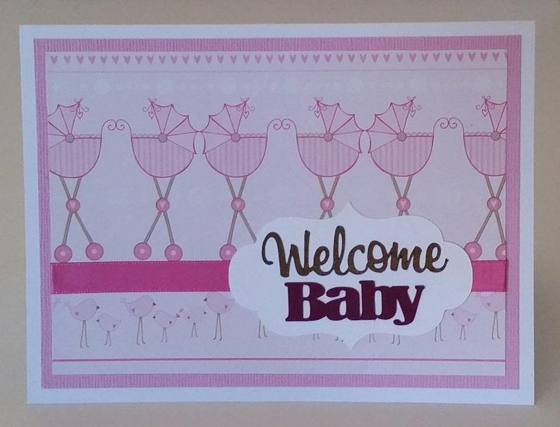 pink /& white Welcome Baby card CraftNinjaStudios blank inside