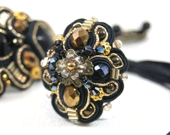 Soutache Ring Massive Ring Black and Gold Adjustable Ring Couture Ring Statement Ring Unique Ring Black and Gold Ring Couture Jewelry