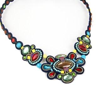 Colorful Soutache Necklace Statement Necklace Unique Crystal Necklace Couture Jewelry Multicolor Necklace Soutache Set Collier Soutache