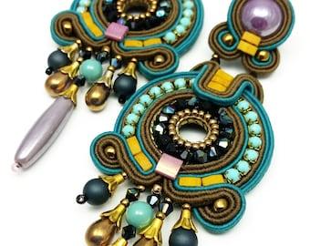 Dangle Earrings Long Earrings Soutache Earrings Stud Earrings Unique Earrings Soutache Jewelry Colorful Earrings Turquoise Beige Mustard