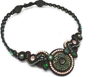 Soutache Necklace Statement necklace Exclusive jewelry Dark green peach necklace Couture jewelry Crystal necklace Unique  soutache set