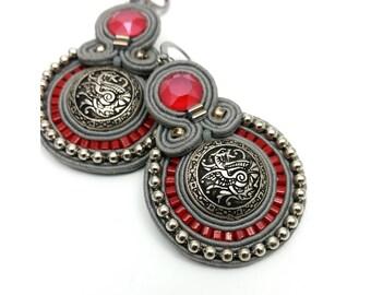 Soutache earrings / gray, red, silver, buttons, gragon