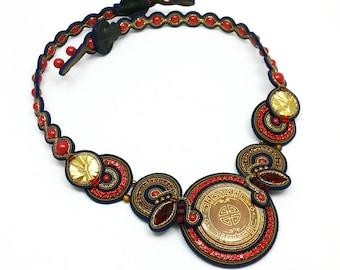 Soutache Necklace Statement Necklace Unique Crystal Necklace Buttons Jewelry Couture Jewelry  Soutache Set Collier