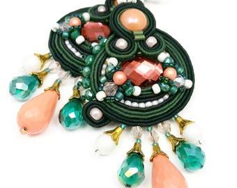 Dangle Earrings Soutache Earrings Long Earrings Sparkling Earrings Unique Earrings Soutache Jewelry Dark Green Peach White Earrings Colorful