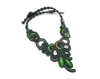 Soutache necklace Rostov Finift black green statement necklace Soutache jewelry Collier soutache Embroidered necklace Unique necklace