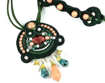 Soutache Pendant Colorful Soutache Jewelry Statement Pendant Green and Peach and White Mini Cuff Couture Jewelry Soutache Set