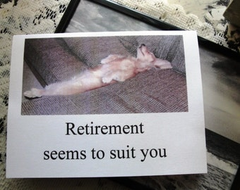 "Dachshund Greeting Card ""Retirement Seems To Suit You"", retirement card with dachshund"