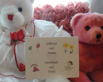 """Birth Announcement, Baby Girl Birth Congratulations Greeting Card, titled """"Lollipops and Daisies"""""""