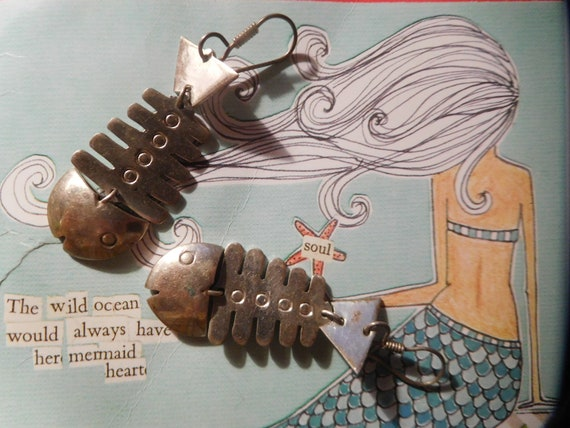 Take Me to the Sea Big Skeleton Fish Earrings Exce