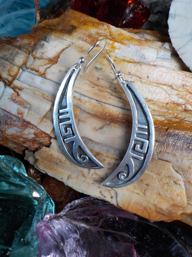 Big ol/' Sterling Taxco Mexico Hallmarked Thick Solid Sturdy Crescent Moon Native American Overlay Earrings Revamped w New 925 Wires