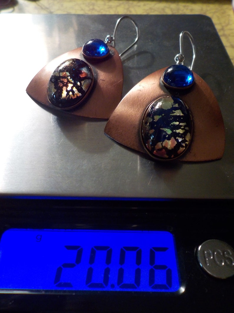 Janedis Big Fascinating Earrings s revamped with new 925 wires 1980/'s Super Fab Copper and Dichroic Art Glass Signed Vintage Dama P