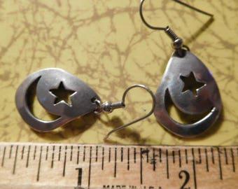 """Sweet Vintage Sterling Silver Native American Raindrop Teardrop Southwest Moon Star Cutout Dangle Earrings 1.5"""""""