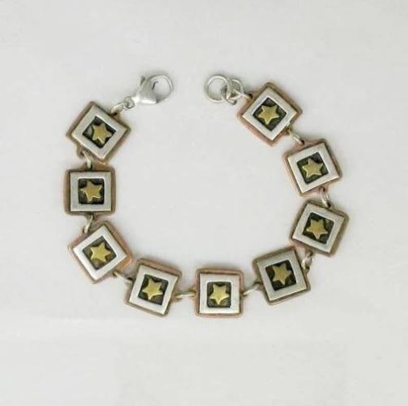 Copper /& Brass framed stars Link Bracelets 7 12 inch Two Vintage Retired Far Fetched Sterling Silver