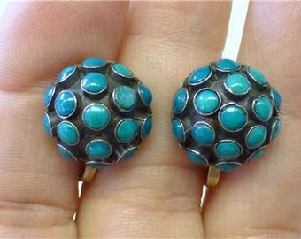 """Wonderful Vintage Mexican Southwest Snake Eye Dome w/17 Turquoise Stones in Each Screw-back Earrings Signed Approx 1/2"""" diameter"""